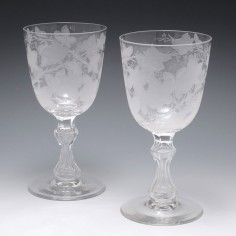 Pair Of Fine Victorian Acid Etched Glass Goblets c1875