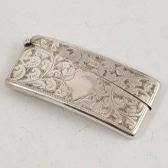 An Engraved Sterling Silver Card Case Birmingham 1909