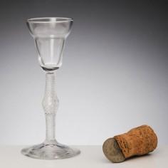 Pan Top Georgian Air Twist Wine Glass c1750