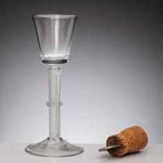 Air Twist Georgian Wine Glass with Vermicular Collar c1750