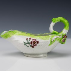 Longton Hall Middle Period Leaf Shaped Sauceboat 1754-1757