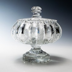 An Exceptional Regency Diamond Cut Lidded Compote  c1825