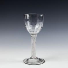 Large Petal Moulded Opaque Twist Wine Glass c1760