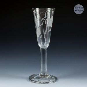Tall Georgian Engraved Plain Stem Ale Glass Rare Variant c1740