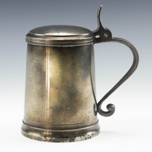 French Etains Du Manoir Lidded Pewter Tankard