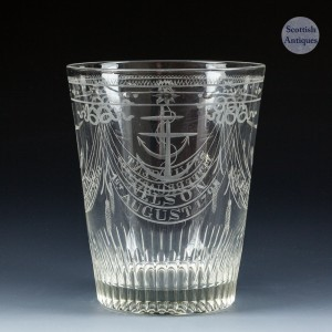 Tumbler Engraved With Historic Naval Battles  c1800