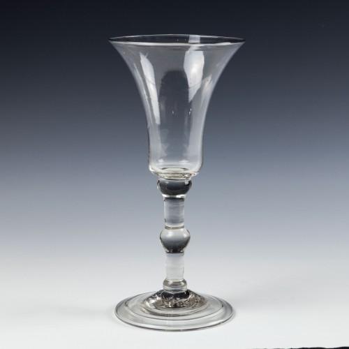 Very Fine Georgian Triple Knop Balustroid Wine Glass c1745