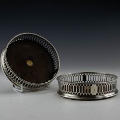 Pair of George III Sterling Silver Coasters 1769