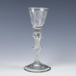 Jacobite Engraved Double Knop Air Twist Wine Glass c1750