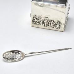 Early 18th Century Pierced Silver Mote Spoon c1730