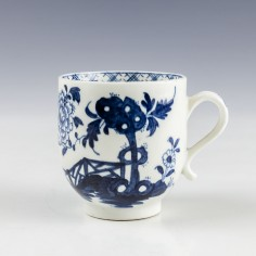 Lowestoft Tied Rock Peony and Fence Pattern Coffee Cup c1777