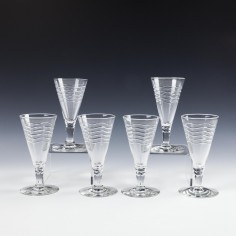Six Webb Corbett Modernist Glasses By Irene Stevens c1955