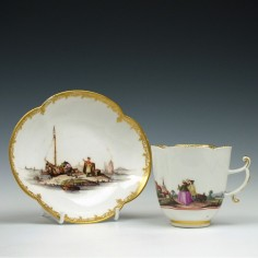 Meissen Porcelain Coffee Cup and Saucer c1745