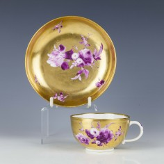 Meissen Gold Ground Puce Camaieu  Cup And Saucer c1765