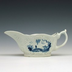 Early Worcester Sinking Boat Fisherman Pattern Sauce boat c1755