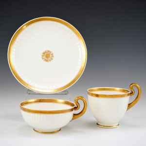 Swansea Porcelain Paris Fluted Trio c1820