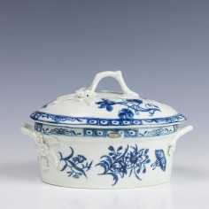 RESERVED Charlotte- Worcester Porcelain Twig Handled Butter Tub and Cover C1770