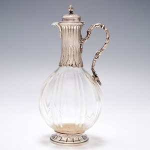 A Paul Canaux Hallmarked Silver and Crystal Liqueur Bottle c1900