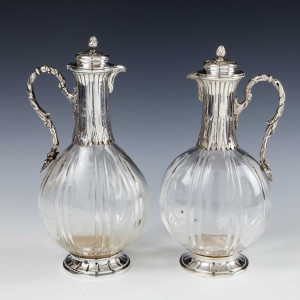 Pair French Hallmarked Silver and Crystal Liqueur Bottles c1900