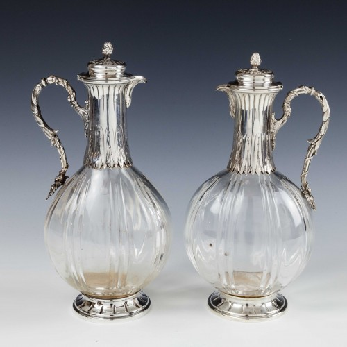 Paul Canaux Hallmarked Silver and Crystal Liqueur Bottles c1900 Was £875