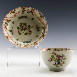 New Hall Porcelain Tea Bowl and Saucer c1785