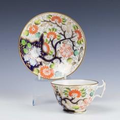Swansea Porcelain Imari Teacup and Saucer c1815