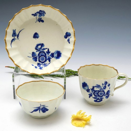 """First Period Worcester """"The Bouquets"""" Pattern Trio c1773"""