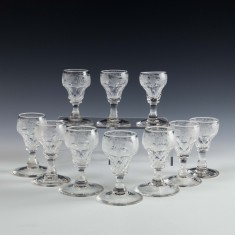 Ten Panel Cut Engraved Ogee Liqueur Or Shot  Glasses