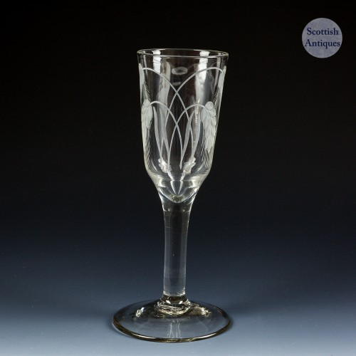 Tall Rare Georgian Barley Wine Glass c1750