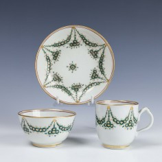 Rare New Hall Porcelain Trio c1790