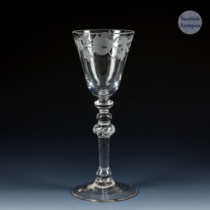 Engraved Newcastle Light Baluster Wine Glass c1750