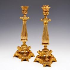 Pair French Second Empire Period Ormolu Candlesticks c1850