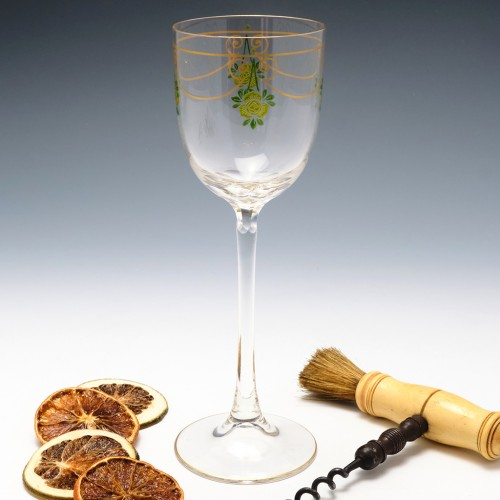 Theresienthal Enamelled Hock Wine Glass c1905