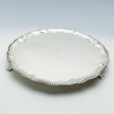 A Large Sterling Silver Salver London 1767
