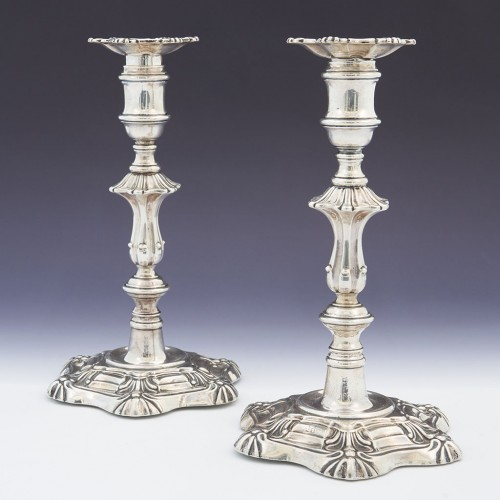 Pair George IV Sterling Silver Candlesticks Sheffield 1827