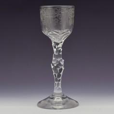 Regency Facet Cut Stem Wine Glass c1820