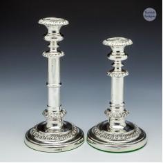 A Rare Pair Of Georgian Sterling Silver Telescopic Candlesticks Sheffield 1823