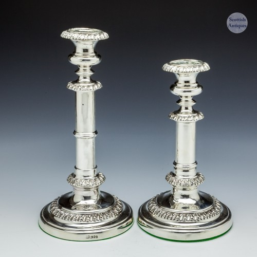 Pair Of Georgian Sterling Silver Telescopic Candlesticks Sheffield 1823