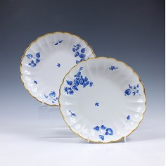 Worcester Dry Blue Saucer Dishes c1810