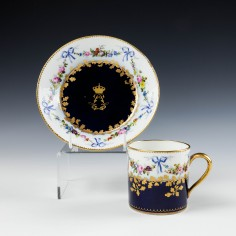 Louis Philipe Sevres Porcelain Coffee Cup And Saucer 1845-48
