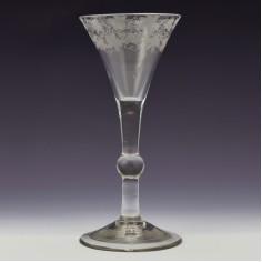 Engraved Georgian Baluster Wine Glass c1740