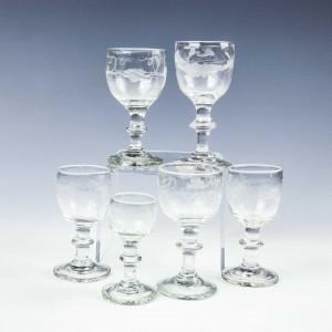 Six Engraved Dram Glasses c1830