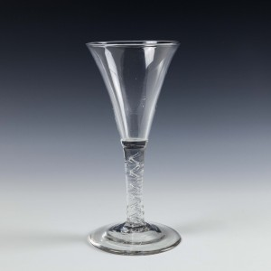 A Tall Georgian Mercury Twist Wine Glass c1750