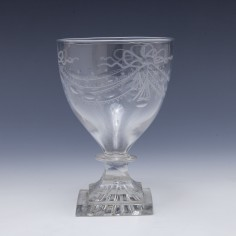 Engraved Rummer With Lemon Squeezer Foot c1800