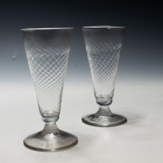Pair of Georgian Wrythen Moulded Ale Glasses c1760