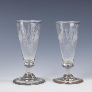 Two Engraved Georgian Dwarf Ale Glasses c1760