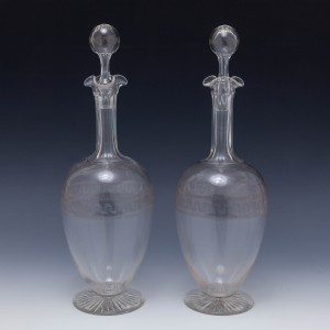 A Pair of Engraved Amphora Decanters c1890