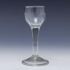 Georgian Rib Moulded Plain Stem Wine Glass c1750