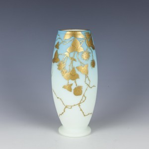 Gilded Satin Glass Vase c1900
