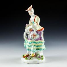 Derby 'Pale Family' Figure of Dancing Shepherdess c1765